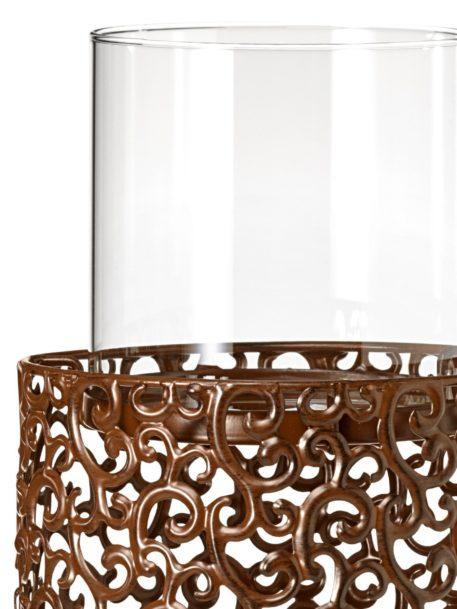 Dekoracyjny, duży świecznik podłogowy, antyczny brąz