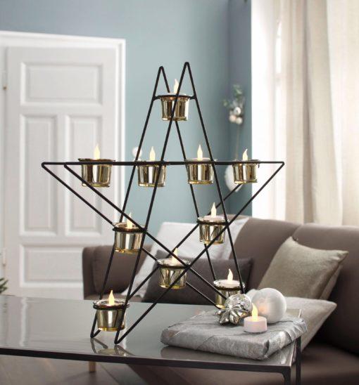 Nowoczesny świecznik w kształcie gwiazdy