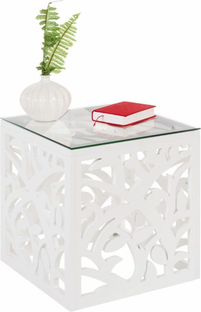 Dekoracyjny stolik ze szklanym blatem, biały