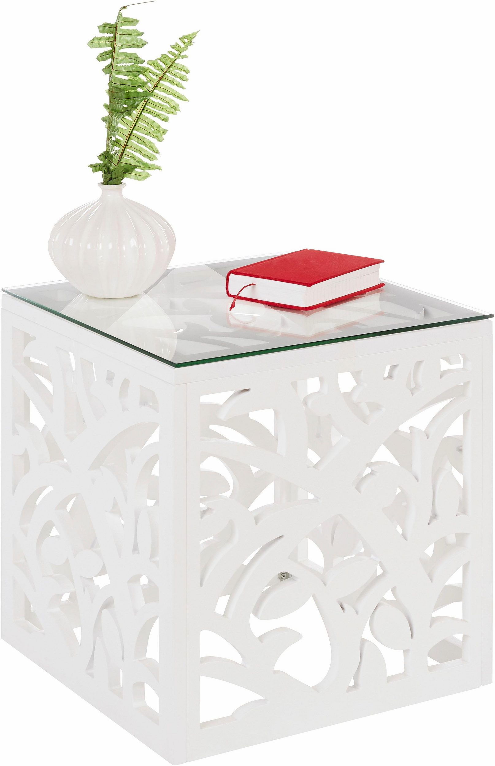 Dekoracyjny Stolik Ze Szklanym Blatem Biały