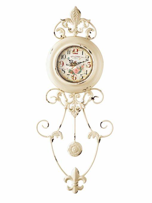 Zegar o niecodziennej formie w stulu vintage, kremowy