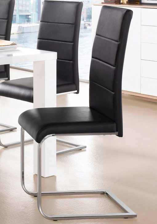 Czarne krzesła z ekoskóry na płozach - komplet 6 sztuk
