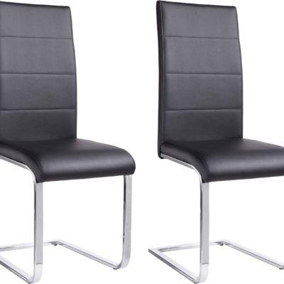 Czarne krzesła z ekoskóry na płozach - komplet 2 sztuki