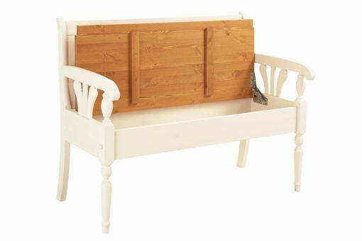 Piękna ławka ze schowkiem w stylu rustykalnym