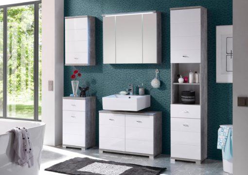 Nowoczesna szafka pod umywalkę, biel+beton