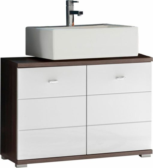 Nowoczesna szafka pod umywalkę, biel+wiąz