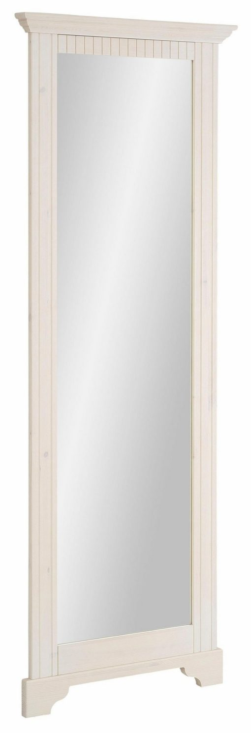 Duże lustro ścienne, biała drewniana rama z sosny