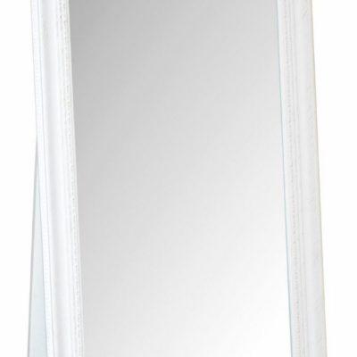 Duże, stojące lustro z przepiękną białą ramą