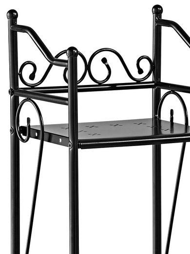 Czarny, metalowy regał o nostalgicznym wyglądzie