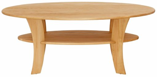 Owalny stolik kawowy z drewna sosnowego