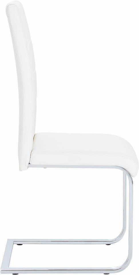 Białe krzesła z ekoskóry na płozach - komplet 4 sztuki