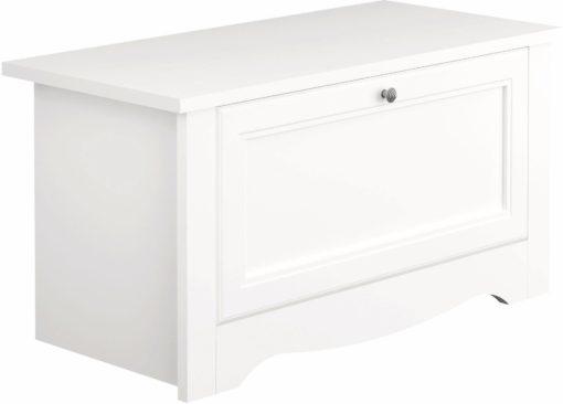 Praktyczna, biała ławka ze schowkiem