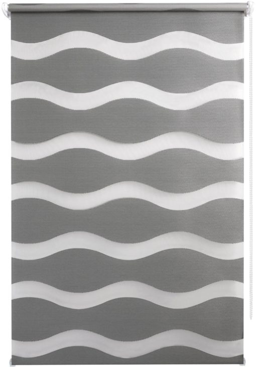 Nowoczesna, podwójna roleta ze wzorem fali 90x210 cm