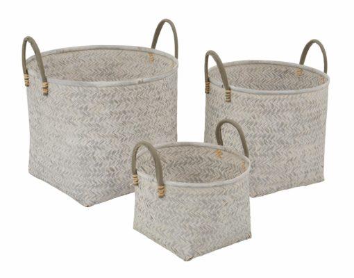 3-częściowy zestaw modnych, bambusowych koszy