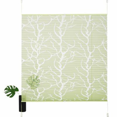 Zielona, plisowana roleta z motywem drzewa 130x80cm
