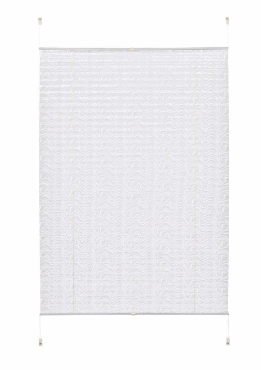 Biała, plisowana roleta z motywem fali 120 cm