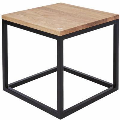 Nowoczesny, kwadratowy stolik, drewno dębowe i stal