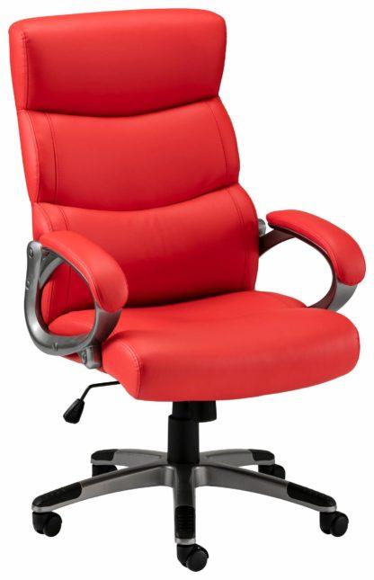 Atrakcyjny fotel biurowy, sztuczna skóra czerwona