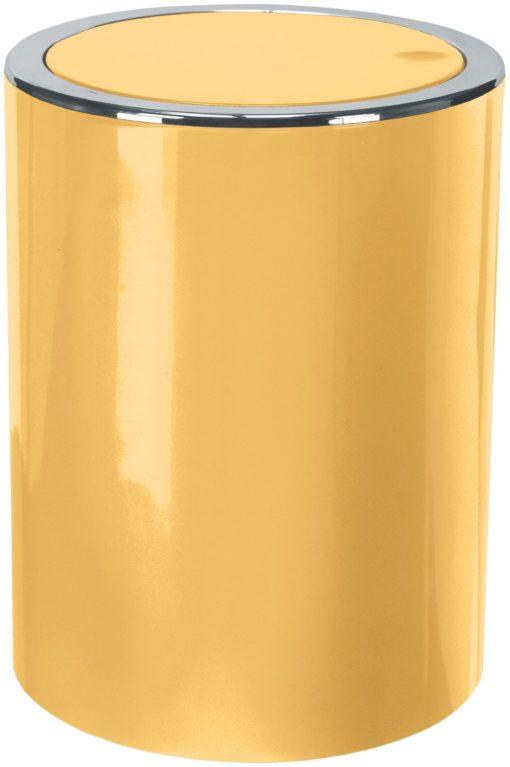 Mały, łazienkowy kosz na śmieci w kolorze żółtym