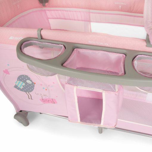 Łóżeczko turystyczne z przewijakiem - różowe