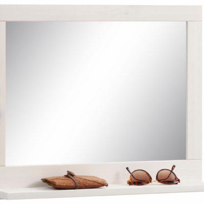 Lustro z półką w białej, drewnianej ramie