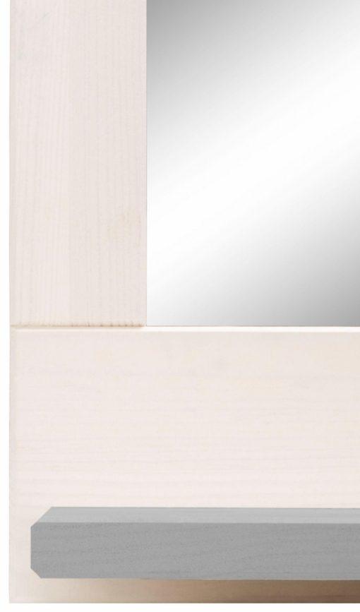 Minimalistyczne lustro w białej, drewnianej ramie z półką