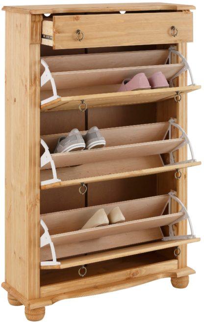 Pojemna, sosnowa szafka na buty w stylu rustykalnym