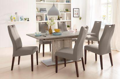 Szlachetne, tapicerowane sztuczną skórą krzesła - zestaw 4 sztuki