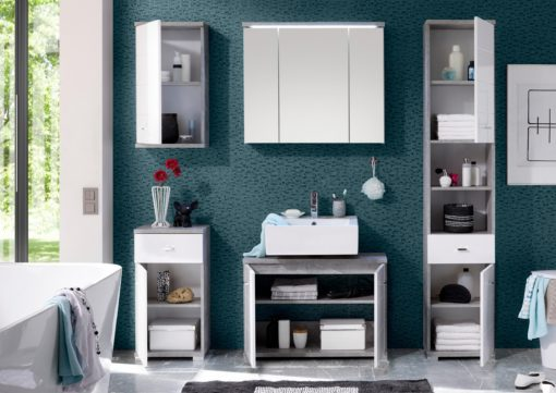 Wysoka szafka łazienkowa/słupek - biel+beton