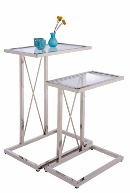 Zestaw dwóch eleganckich stolików z metalu ze szklanymi blatami