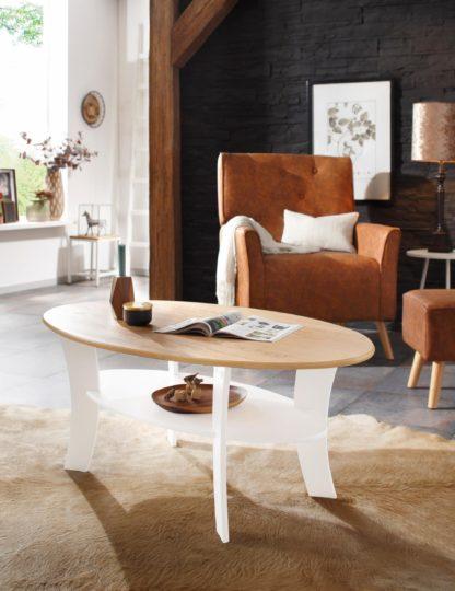 Sosnowy stolik kawowy biało-miodowy
