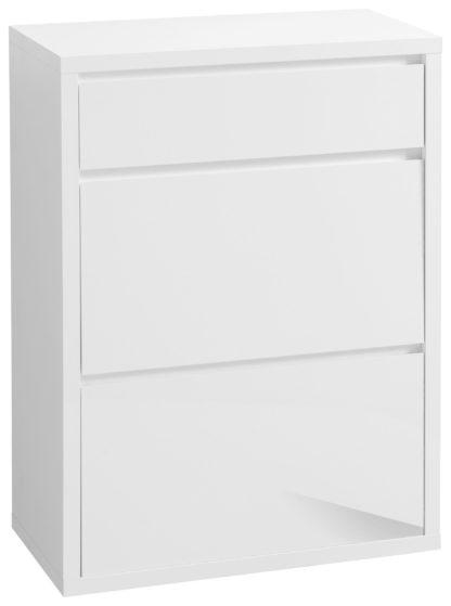 Funkcjonalna, biała szafka na buty z szufladą