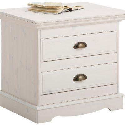 Urocza szafka nocna z dwoma szufladami, z drewna sosnowego