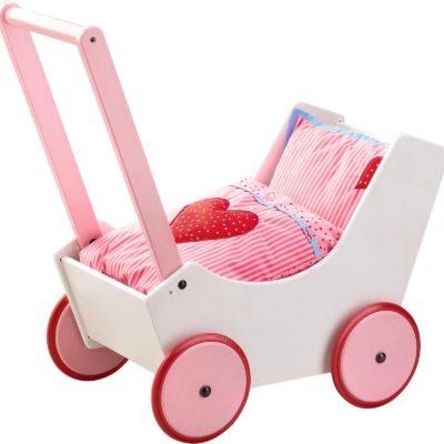 Uroczy, drewniany wózek dla lalek