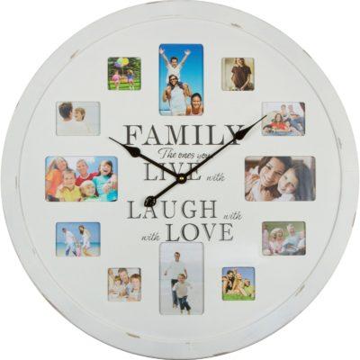 Atrakcyjny zegar ścienny z miejscem na zdjęcia