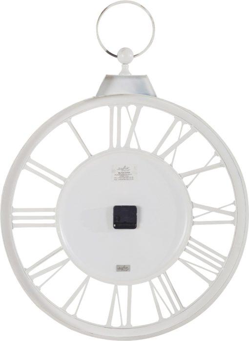 Gustowny, metalowy zegar ścienny w kolorze białym
