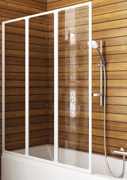 Kabina prysznicowa montowana na wannę złożona z trzech części