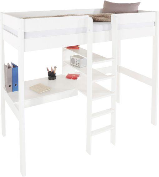 Łóżko na antresoli z drabinką i biurkiem