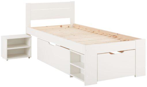Młodzieżowe łóżko z sosny, z szufladami i półkami
