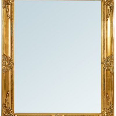 Imponujące lustro ze złotą ramą, stylizowaną na antyczny-look