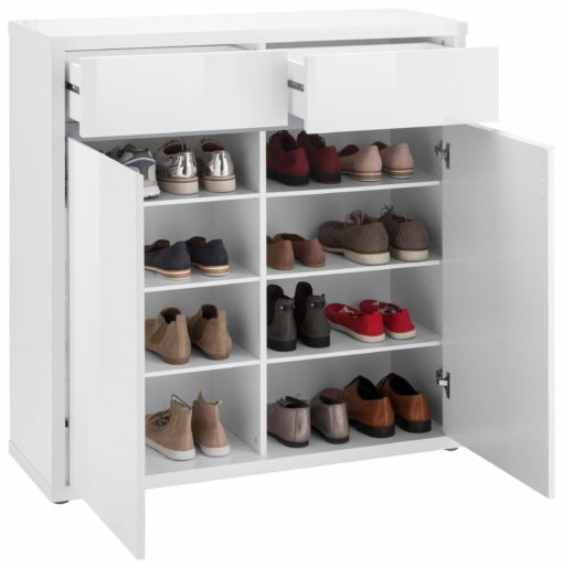 Nowoczesna szafka na buty/komoda, biały połysk