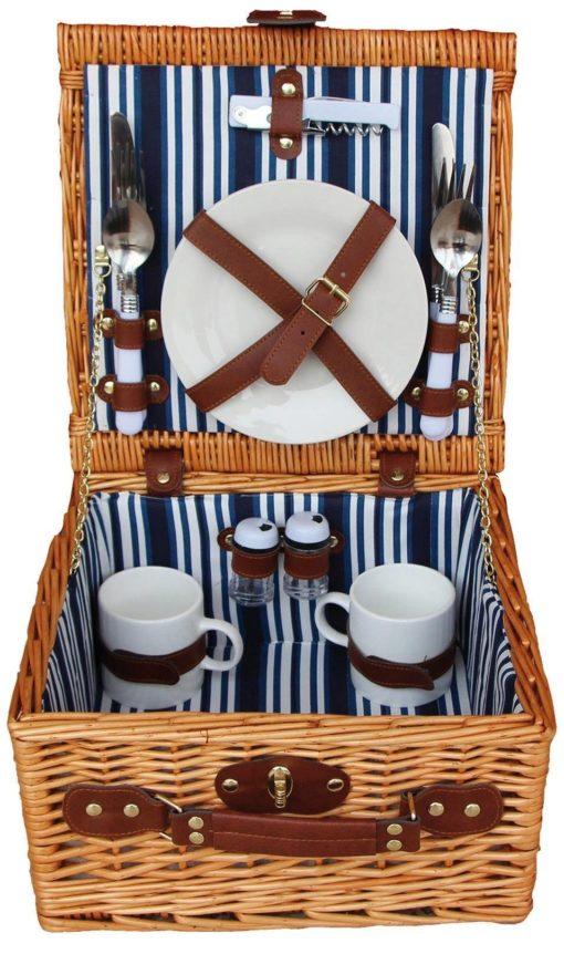 Kosz piknikowy dla 2 osób, z wyposażeniem