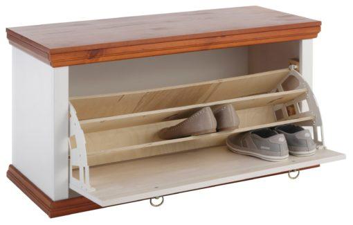 Praktyczna skrzynia na buty z siedziskiem, sosnowa