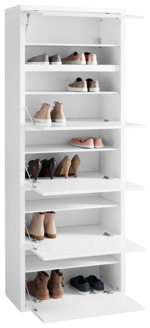 Wysoka, przestronna szafka na buty - biały połysk