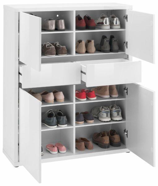 Nowoczesna komoda / szafka na buty - biały połysk