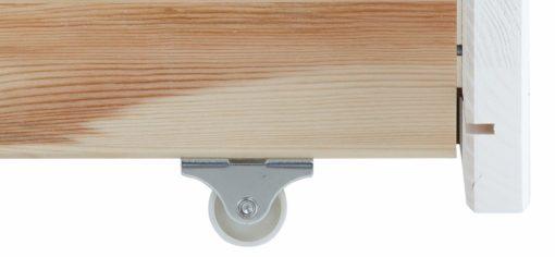 Praktyczna, sosnowa szuflada pod łóżko na kółkach