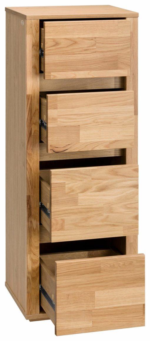 Minimalistyczna szafka w kolorze dębu z czterema szufladami