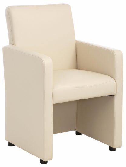 Atrakcyjny fotel tapicerowany sztuczną skórą, beżowy