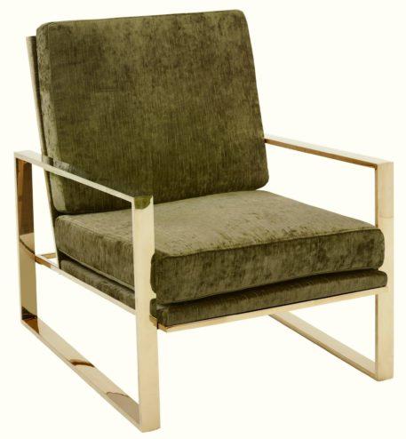 Modernistyczny fotel ze złotą ramą