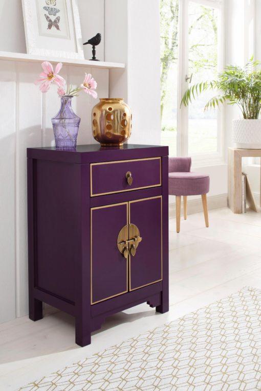 Ekstrawagancka komoda w azjatyckim stylu, fioletowa